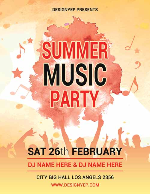 FreePSDFlyer Summer Music Party Free PSD Flyer Template - music flyer template