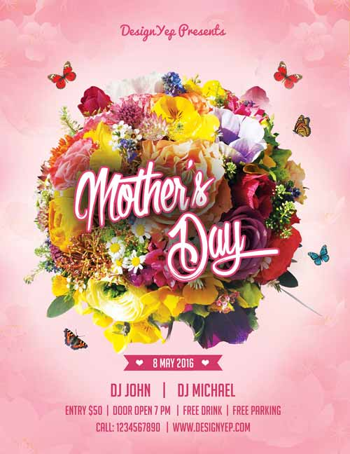 FreePSDFlyer Happy Mothers Day Free Flyer PSD Template - mothers day flyer