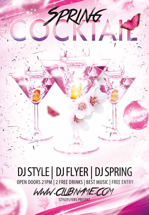 Download the Cocktail Spring Free Flyer Template - spring flyer template
