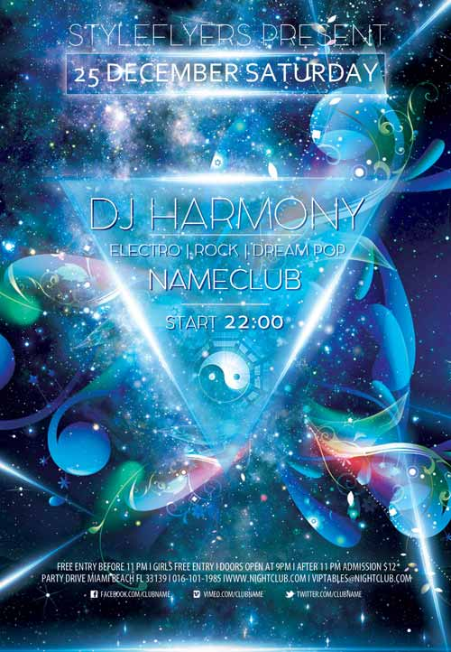 Dj Harmony Free Flyer Template - Download Free DJ Flyer Templates