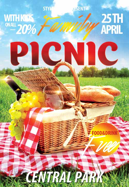 FreePSDFlyer Download the Family Picnic Free Flyer Template for - picnic flyer template