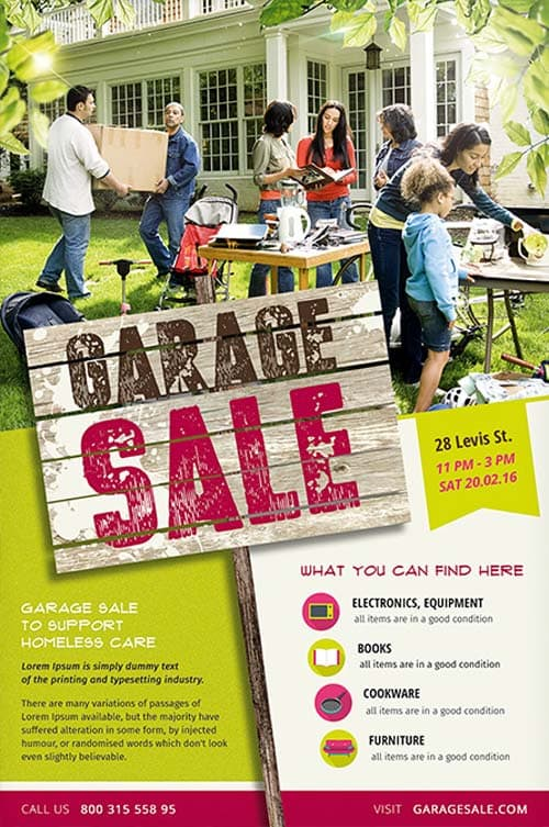 Garage Sale Free Flyer Template - Download PSD for Photoshop - discount flyer template