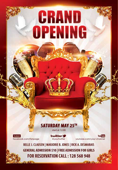 FreePSDFlyer Download the Grand Opening Party Free Flyer Template