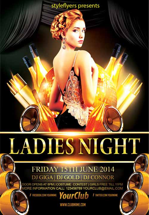 FreePSDFlyer Download the Elegant Ladies Night Party Free Flyer - party brochure template