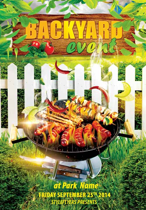 Backyard BBQ Event Free Flyer Template - Download Free PSD Flyer - bbq flyer