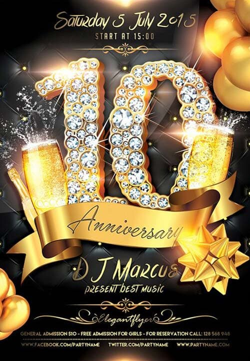 Download the Anniversary Celebration Free Flyer Template for Photoshop