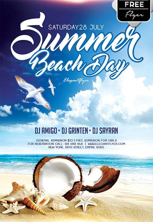 FreePSDFlyer Download Summer Beach Day Free Flyer Template for - free landscape flyer templates