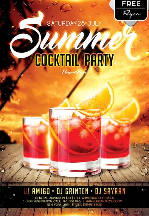 Download the Summer Cocktail Party Free Flyer Template