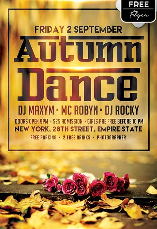 Download the Autumn Dance Free Flyer Template for Photoshop