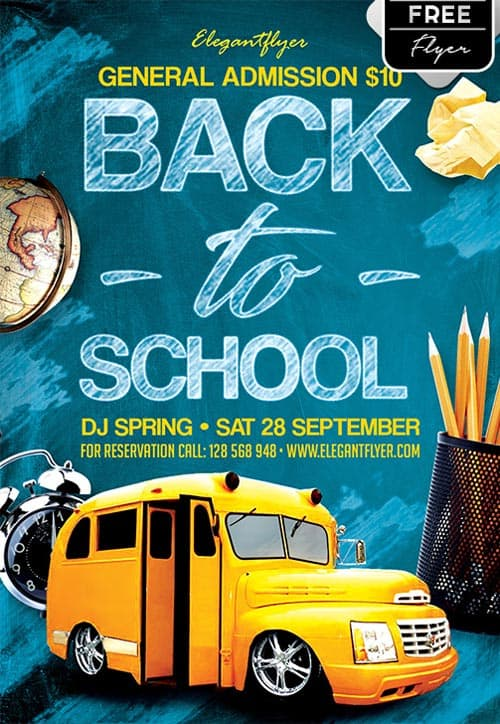 Download the Back to School Party Free Flyer Template for Photoshop