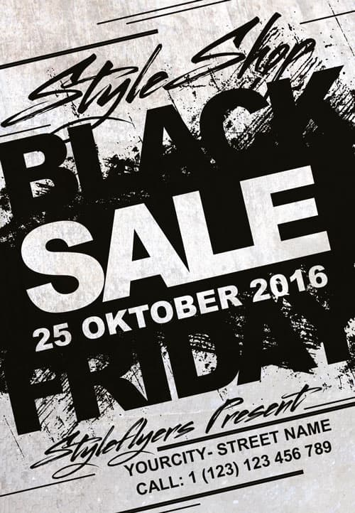 Download Black Friday Sale Free Flyer Template for Photoshop - black and white flyer template
