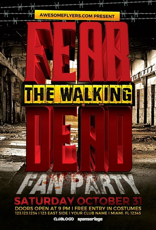 Download Fear The Walking Dead Party Flyer Template for Photoshop