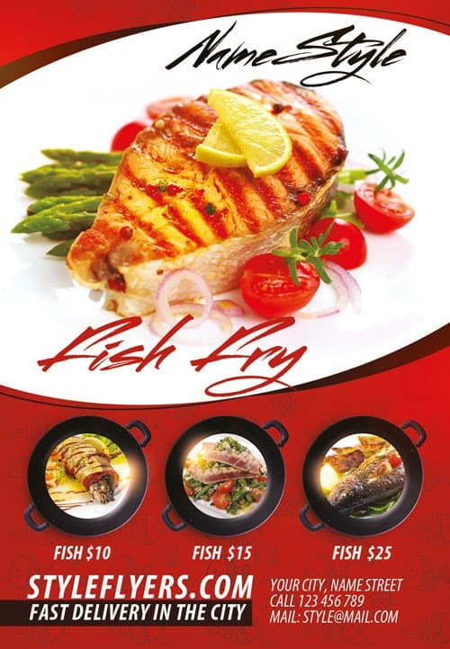 FreePSDFlyer Fish Restaurant Free Flyer Template - Download for