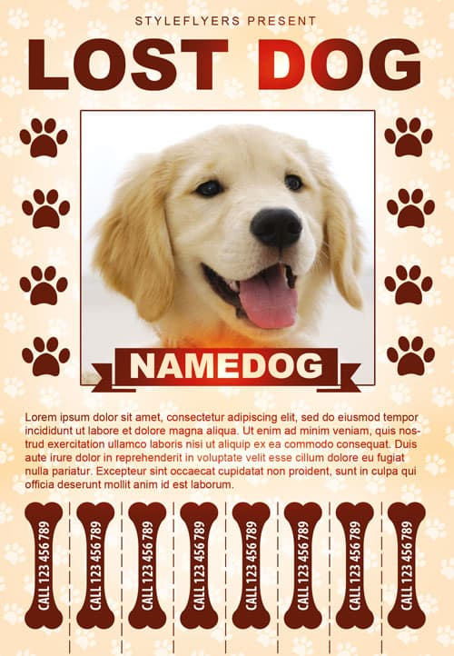 FreePSDFlyer Lost Dog Free Flyer Template - Download for Photoshop