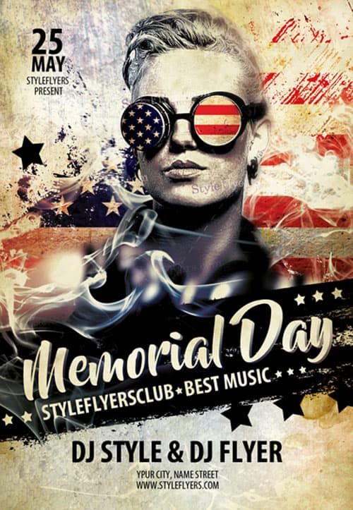 Memorial Day Party Free Flyer Template - Download for Photoshop