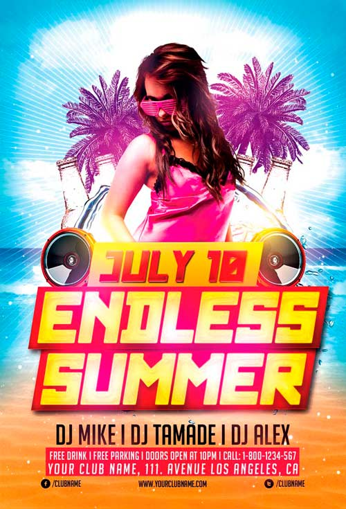FreePSDFlyer Download Endless Summer Party Flyer Template for