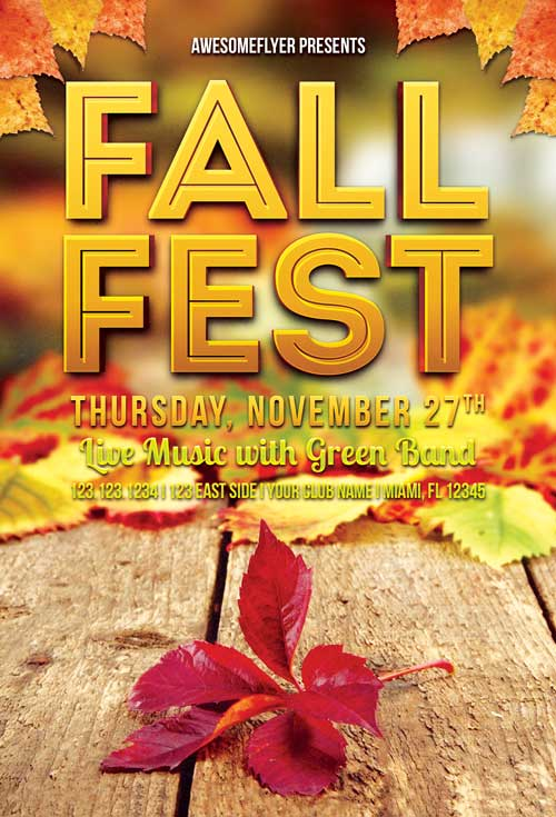 Download Fall Fest Free Flyer Template for Photoshop