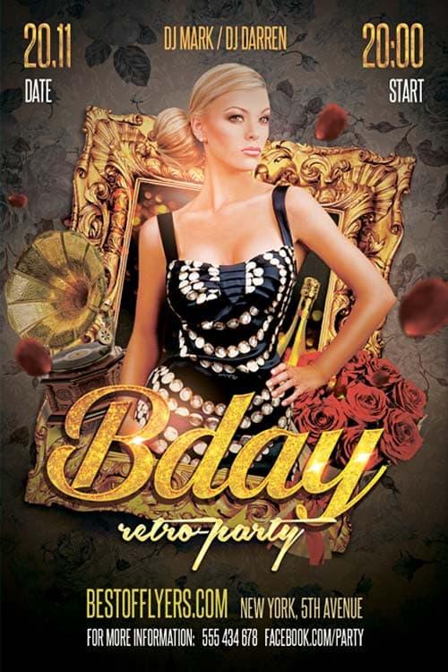 FreePSDFlyer Retro Birthday Party Free Flyer Template - Download