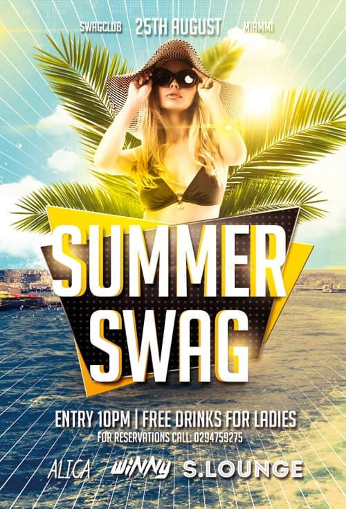 FreePSDFlyer Summer Swag Party Free Flyer Template for Photoshop