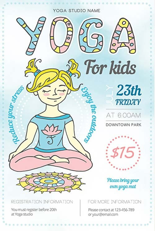 Yoga Fitness Illustration Free Flyer Template - Download for Photoshop