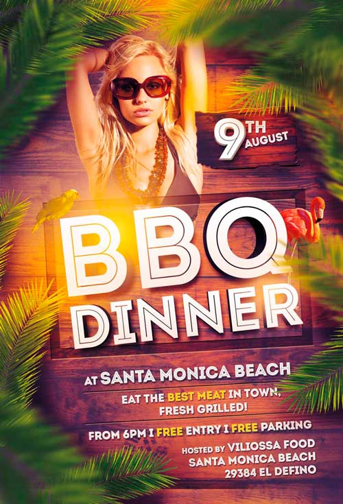 FreePSDFlyer BBQ Dinner Party Free Flyer Template - Download for - Dinner Flyer