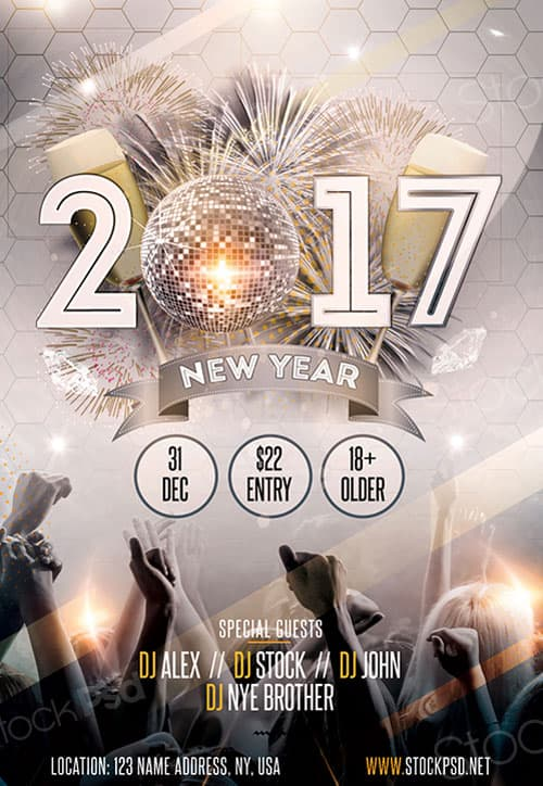FreePSDFlyer New Year Gold Party Free Flyer Template - Download