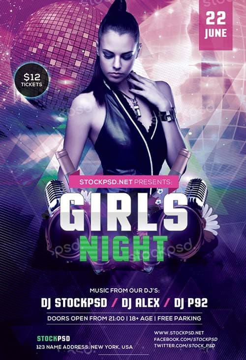 FreePSDFlyer Girls Night Party Free PSD Flyer Template - Download