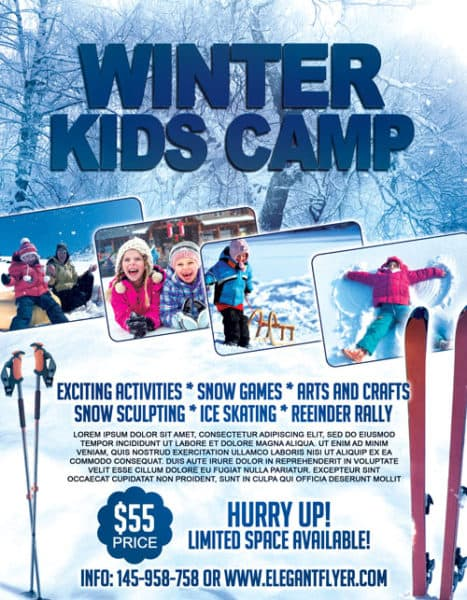 Winter Kids Camp Free Flyer Template - Download for Photoshop - camp flyer template