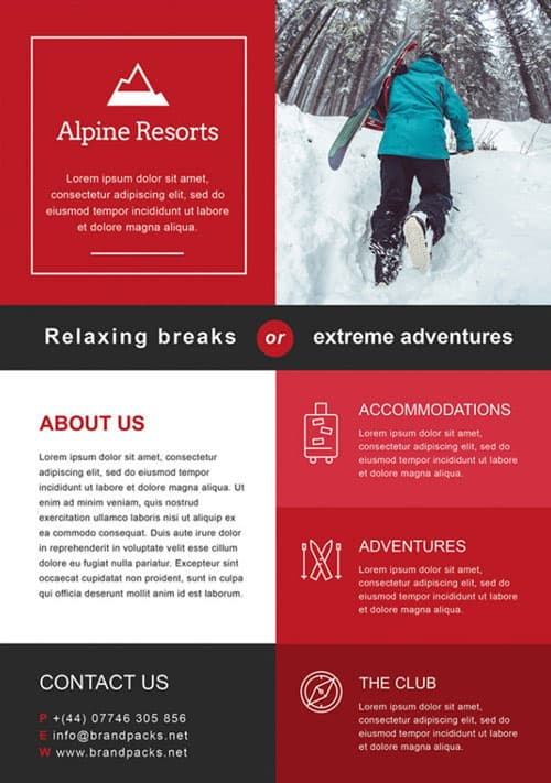 Free Alpine Resorts Business Flyer Template - Download for Photoshop