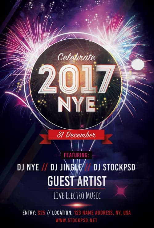Download the best Free New Year Flyer PSD Templates for Photoshop - new year poster template
