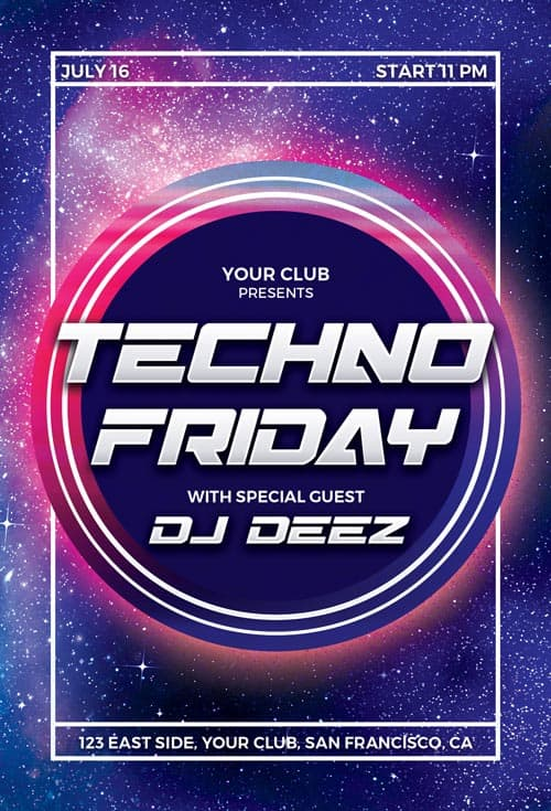 Free Techno Party Flyer Template - Download Free PSD Flyer Templates