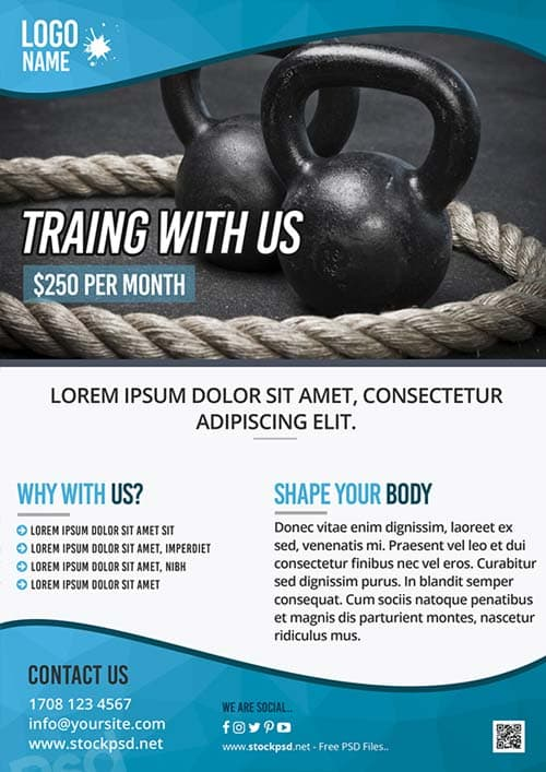 FreePSDFlyer Fitness Training Gym Free Flyer Template - Download