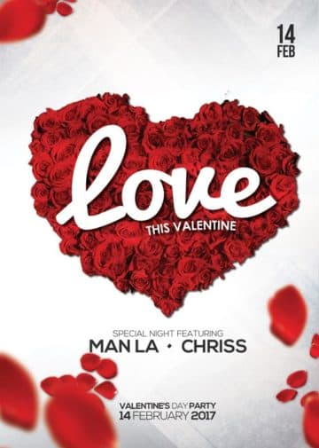 Download Free Valentines Day Flyer PSD Templates for Photoshop!