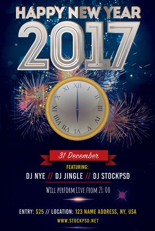 FreePSDFlyer 2017 New Years Eve Free Flyer Template - Download - new year poster template