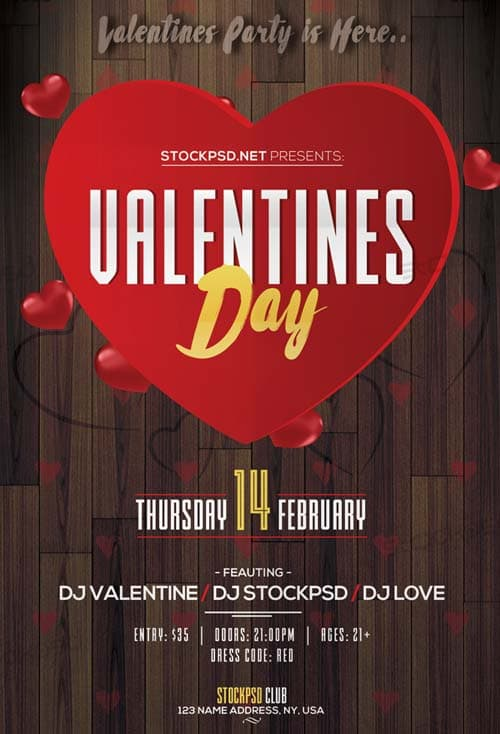 FreePSDFlyer Valentine\u0027s Day Event 2017 Party Free Flyer Template