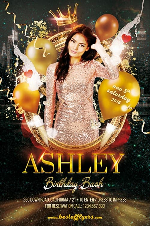 FreePSDFlyer Birthday Bash Party Flyer Template - Download - birthday flyer templates free