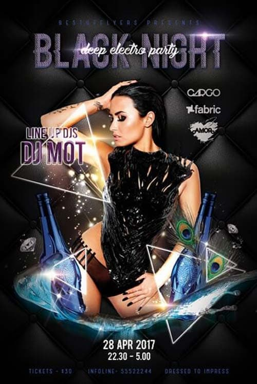 Black Night Party Free Flyer Template - Download Photoshop Flyer for