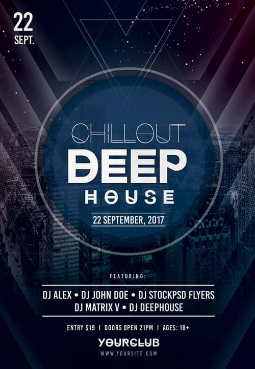 Chillout Deep House Free PSD Flyer Template - Free Flyer for Electro