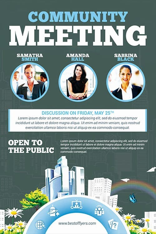 FreePSDFlyer Community Meeting Free Flyer Template - Download for