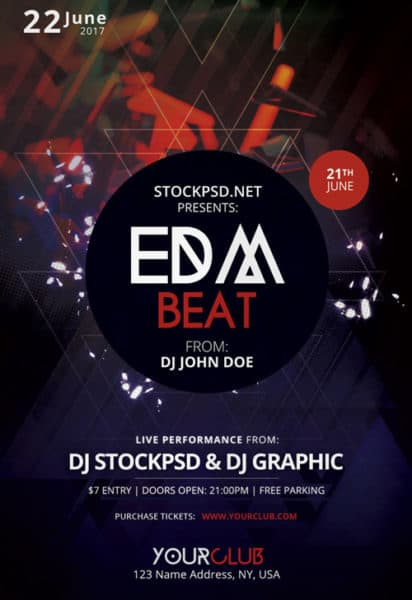 Download the EDM Free Electro Flyer Template for Photoshop - electro flyer