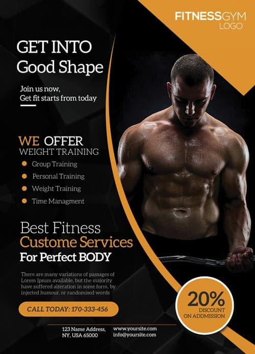 FreePSDFlyer Download the Get Into Shape Fitness Free Flyer