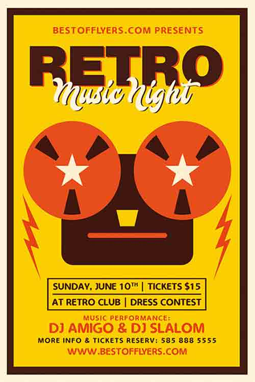 FreePSDFlyer Download Retro Music Night Party Free Flyer Template