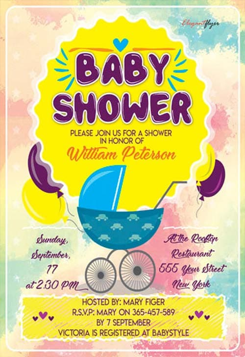FreePSDFlyer Baby Shower Party Flyer Template - Download Free - baby shower flyer template free