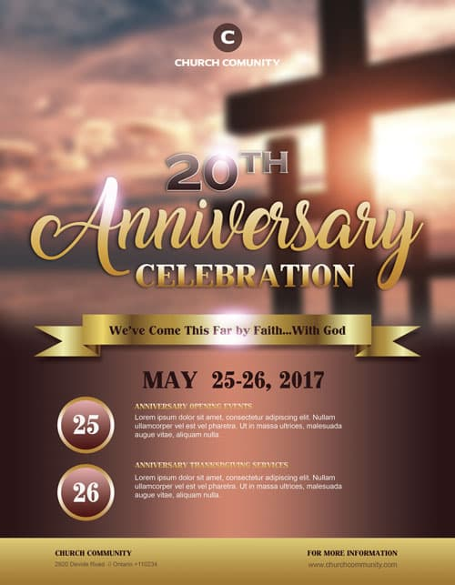 Anniversary Celebration Free Church Flyer Template - Download Flyers