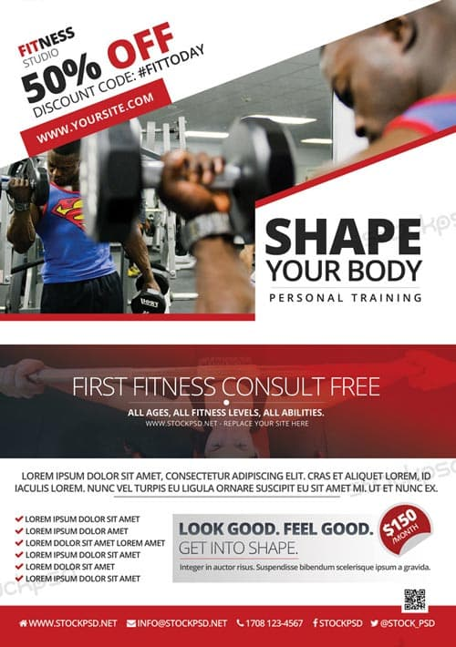 FreePSDFlyer Fitness and Gym Offer Free Flyer Template - Download
