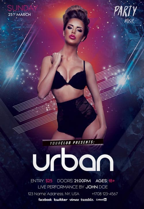 Urban Free Party PSD Flyer Template - Download Free Flyer Templates