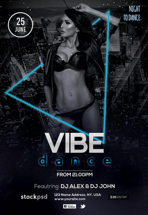 Dance Vibes Free Party Flyer Template - Download Free Flyer Templates