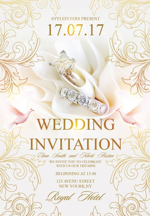 FreePSDFlyer Free Wedding Invitation Flyer Template - Download