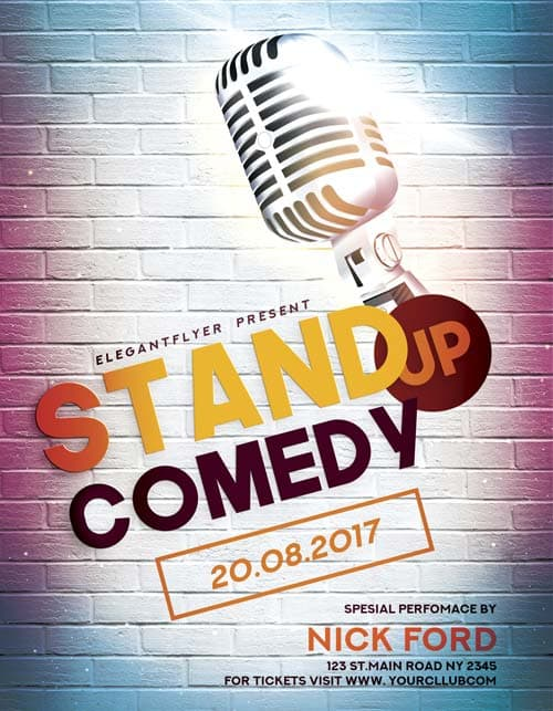 FreePSDFlyer Stand Up Comedy Free Flyer Template - Download Free - comedy show flyer template