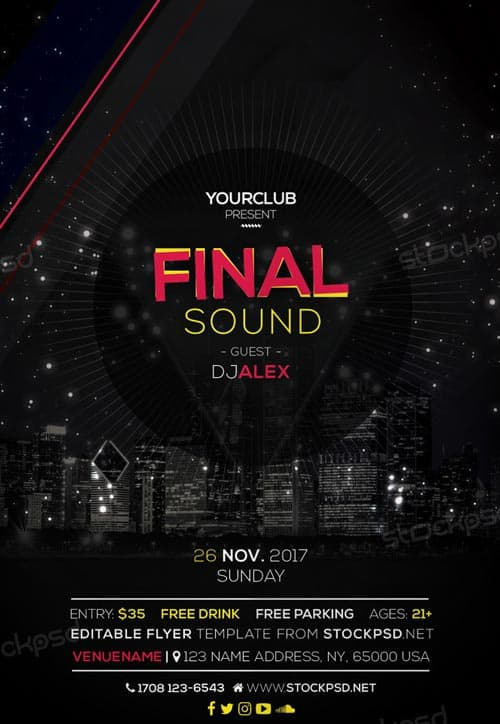 FreePSDFlyer Final Sound Free EDM Flyer Template - Download Free
